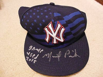 July 4, 2015 Michael Pineda Autograph Game Used Baseball Cap Steiner/MLB/PSA/DNA