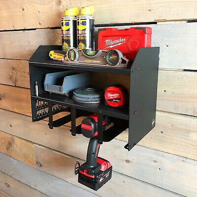 Drill Driver Battery Charger Tool Rack Shelving Storage Workshop Organiser Black