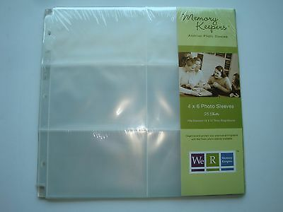 New!  Memory Keepers Brand Archival 4X6 Photo Sleeves--One Pack With 25 Sheets
