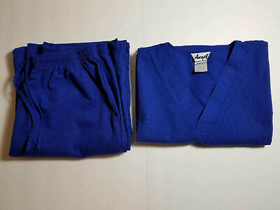 Angel - Women's Solid Navy Blue Scrub Set - Shirt and Pants - Size Extra Small