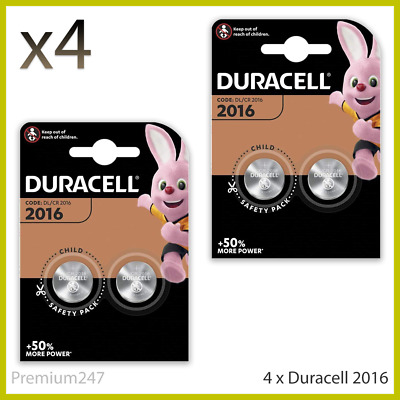 4 x Duracell CR2016 3V Lithium Coin Cell Battery 2016 DL2016 BR2016 SB-T11