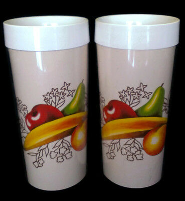 2 Piece Vintage Thermo Serv Fruit Print Tumbler Cups 6 Inch Plastic Beige