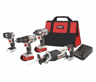 PORTER CABLE 20V MAX LITHIUM 4 TOOL COMBO KIT POWER PCCK615L4 drill impact recip
