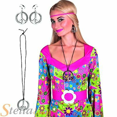 Peace Sign Necklace & Earrings Ladies CND 60s 70s Fancy Dress Accesory