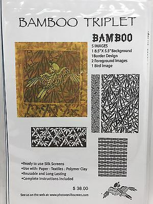 Ginny Eckley BAMBOO TRIPLET Ready-to-Use Silk Screen Stencil, 5 Images (RF611)