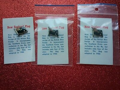 New Zealand Flag Pins LOT of 3 + History Cards