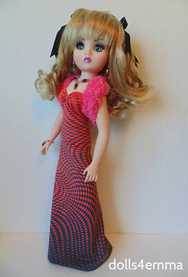 """CISSY DOLL CLOTHES Pink Stole + Gown + Jewelry 21"""" handmade Fashion NO DOLL d4e"""