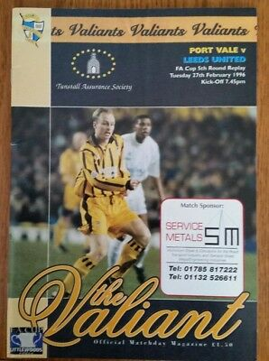 Port Vale v Leeds Utd 1995/1996 Football Programme 5th round FA Cup replay