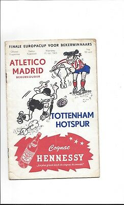 EUROPEAN CUP WINNERS CUP FINAL 1963 Tottenham Hotspur v Atletico Madrid