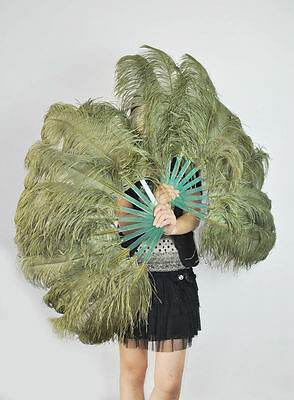 """24"""" x 41"""" pair of olive Single layer Ostrich Feather Fan Burlesque friend"""