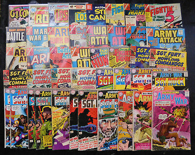 Huge Lot of Vintage Silver Age War Comics! Sgt. Rock, Fury, Our Army at War, DC!