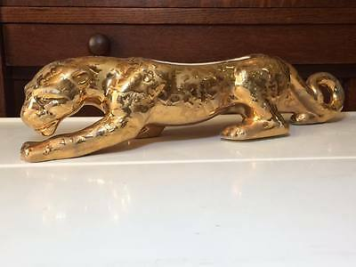 Vintage Cameron Clay 24 k plated Weeping Gold Panther Planter made in USA