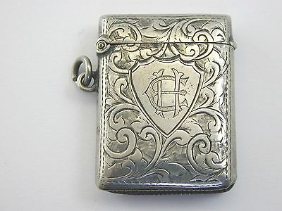 Antique 1904 silver vesta case 18.4g 31.8mm by 42.25mm