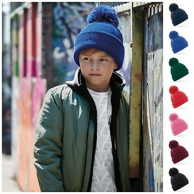 Childrens Bobble Hat Beanie Hat Reflective Warm Winter Kids Childs Boys Girls