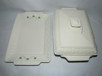 Belleek Everyday 2 Qt Covered Basketweave Casserole  With Shamrock Tray