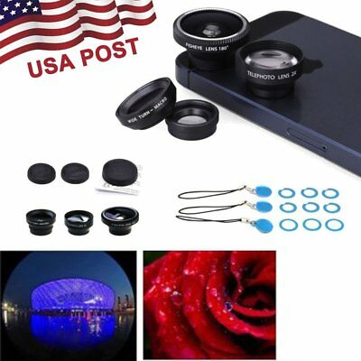 4 in 1 Lens Fish Eye+ Wide Angle+ Macro Lens+ Telephoto Lens For iPhone 7 8 X