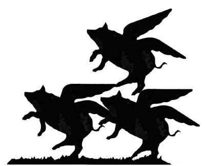 Pigs Might / Fly Flying Pigs Weathervane or Sign Profile - Laser cut