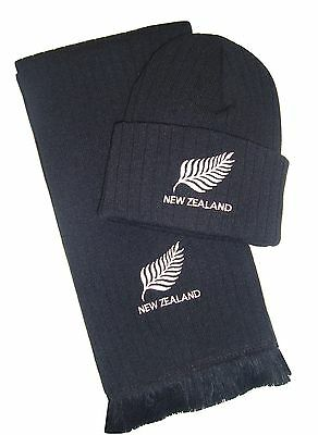 New Zealand Rugby Embroidered Hat and Scarf - Made in the UK