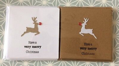 Handmade 4x4 Christmas Cards. Pack of 6 (2 Designs, 3 of Each)