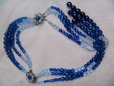 Blue Faceted Glass bead Lariat  Necklace and Bracelet Parure CeT