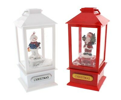 Christmas Decoration - Snowman Snowing Musical Lantern Flickering Candle - White