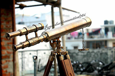 Vintage Antique Brass Telescope Marine Wooden Tripod Collectible Telescope Gift