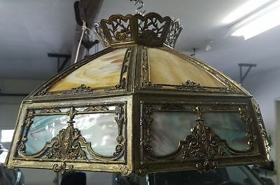 "Large Antique Slag Glass Chandelier 2 Color 25"" Diameter"