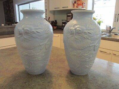Matching Pair Vintage Light Blue Vases BRETBY Made in England with Dragon Motif