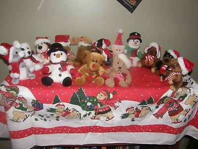 RARE SET 1998-2011 Sears Charity Plush Beanie Christmas Animals (14) WOW HTF