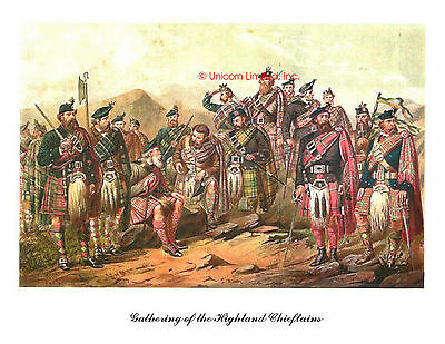 HIGHLAND CHIEFTAINS GATHERING ART PRINT - Scotland, Scottish