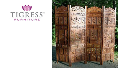 Elephant Hand Carved Timber Wooden Screen Brown