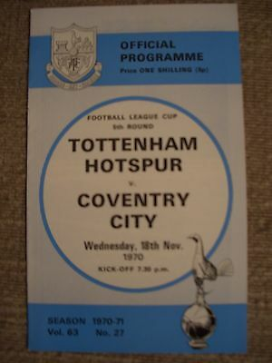 1970...TOTTENHAM HOTSPUR v COVENTRY CITY...F.L.Cup 5th rd.....Football Programme