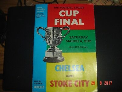 Chelsea Stoke City League Cup Final 1972 Autographed By Stoke City Players