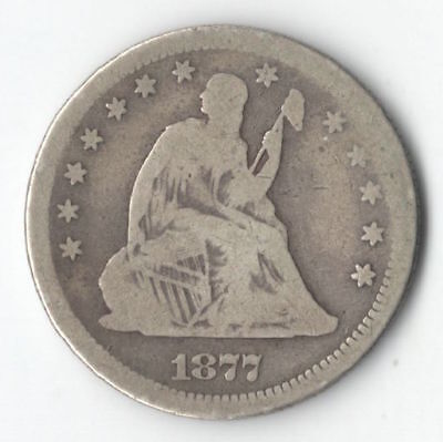 1877 S Seated Liberty Silver Quarter - NiceType Coin