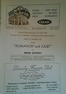 Theatre Programme.  Romanoff and Juliet. Opera House. Manchester. 1956.