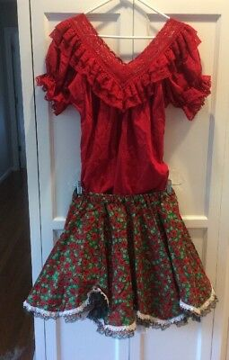Square Dancing Red Outfit Blouse, Skirt and Petticoat Medium