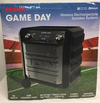 Ion Game Day Bluetooth Portable Speaker for Picnic Tailgater-50 Hour Battery R