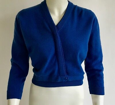 vintage 1960s Dalton 100% cashmere  periwinkle blue bombshell pin up sweater