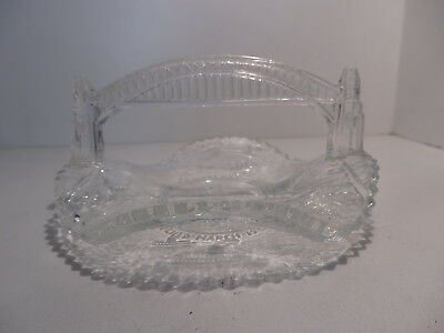 Crown Crystal Glass Sydney Harbour Bridge Opening Commemorative Dish 1932