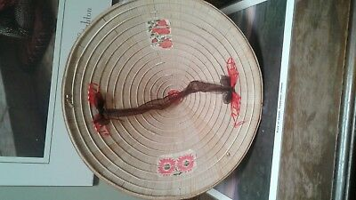 Vintage Asian Oriental Fishing, Sun, Farming Conical Straw Hat