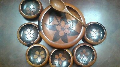 Gorgeous Vintage Handmade Solid Wood And Decorative Inlay Bowl Set