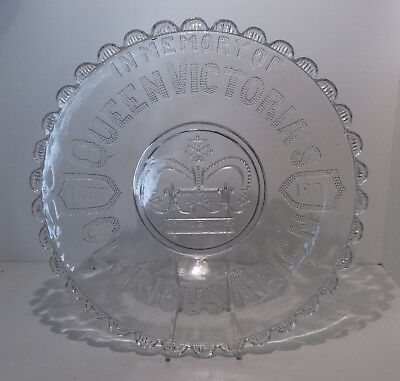 Queen Victorian Pressed Glass Plate 1837-1901 In Memeory of Her Glorious Reign