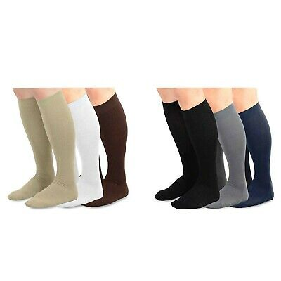TeeHee Men's Bamboo Dress Over the Calf Socks Assorted Color 3-pack Solids 10-13