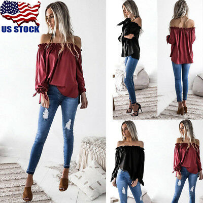 US Womens Lady Off Shoulder Long Sleeve Tops Blouse Casual Loose Top T-shirt Tee