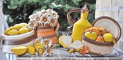 Vintage Retro Homco Syroco Kitchen Wall Plaques Made in U.S.A.