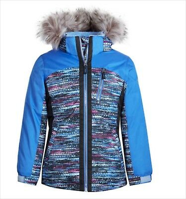 Girls Winter Jacket Size Large 14 16 Blue Removable Hood Snow Coat Faux Fur NWT