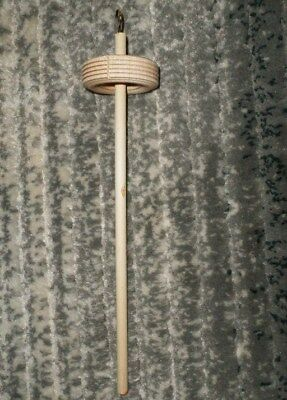 """Unfinished Handmade Top Whorl Drop Spindle 2.5"""" Whorl, 12"""" Long, Brass Hook, NEW"""