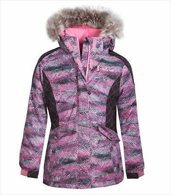 Girls Winter Jacket Size Small 7 8 Pink Removable Hood Snow Coat Faux Fur NWT