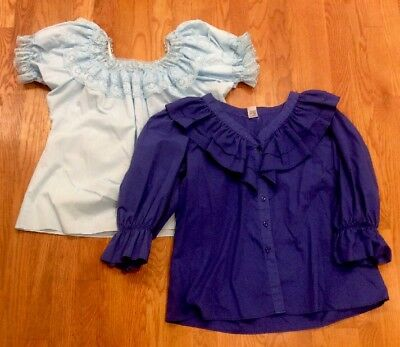 Set of 2 Square Up Malco Modes Square Dancing Blue Lace Blouses Shirt Large USA