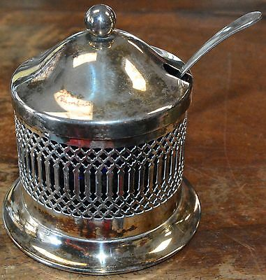 Filigree Silverplate Sugar Bowl Cobalt Glass Liner, Lid & Spoon England 1930's